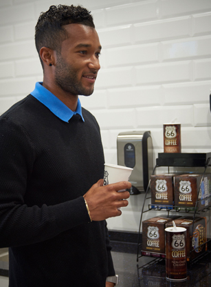 man holding Route66® Coffee