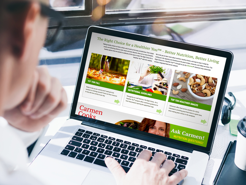 The Right Choice...for a Healthier You® website on screen